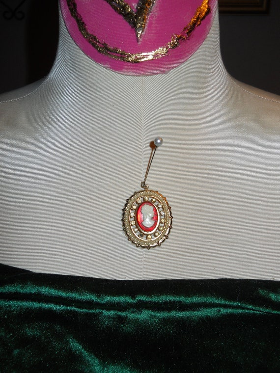 RED CAMEO PENDANT with Rhinestones and Pearls