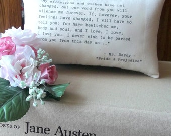 Jane Austen-Pride and Prejudice-'Mr Darcy's Declaration'-Miniature Quotation Pillow-Black Toile