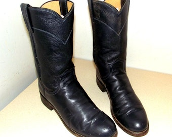 Roper style Justin Deep Blue Leather Cowboy Boots size 5.5 B