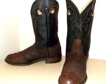 Two tone black and brown Roper style cowboy boots 9 3E or Cowgirl size 10.5 to 11 wide