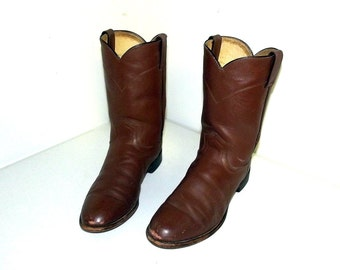 Broken In Justin brand Roper style cowboy boots size 8.5 D or cowgirl size 10 to 10.5