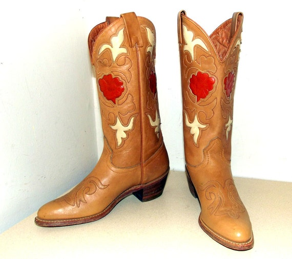 Vintage Texas Brand Cowgirl boots - tan with orange rose inlay design size 8 M