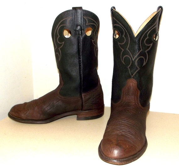 two tone black and brown roper style cowboy boots 9 3e or