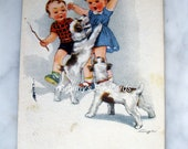 SALE !!! Antique Signed Illustrator Postcard. Girl. Boy. Dogs. Comic.