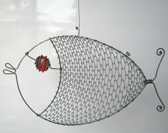 Still Another Red - Eyed Wire Fish Sculpture