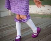 Purple Ruffle Knee Socks