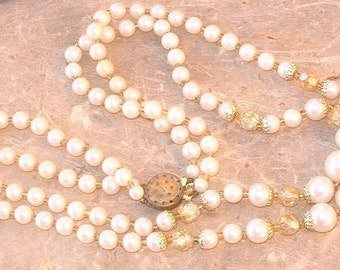ON SALE!  Vintage Double Strand Faux Pearl and AB Crystal Necklace