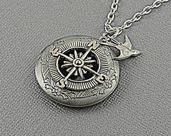Steampunk Antique Silver Locket, Star, Compass, Bird, Keychain, Men, Fantasy Locket- JOURNEY 2