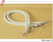 25 inch Crochet PU leather handles a pair White K51