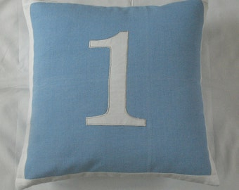 light blue number pillow 18 inch- custom made with house number or date