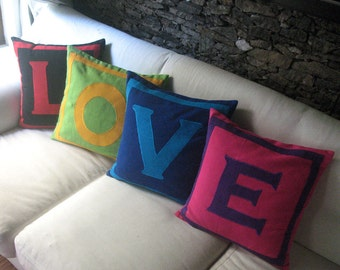 20% discount on LOVE Pillows - Set of 4 pillow covers that spell LOVE - Multicolored 18 inch. Can be  customised.
