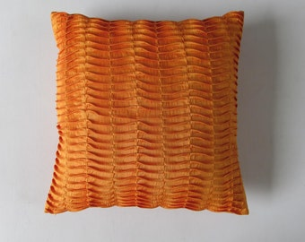 STOCK CLEARANCE 20% OFF- golden orange pillow cover 18 inch pleated- textured cover-2 in stock