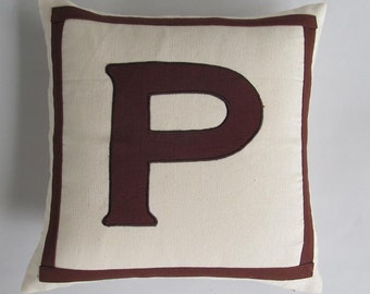 monagram pillow cover cream  background  brown monogram. initial pillow. letter pillow.  18  inch  custom made