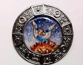 Hand-painted Phoenix Miniature Portrait Brooch Original Watercolor Pin