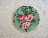 Mosaic Tile Focal Pink Roses Over Green Round Focal 2.5 inch Focal Tile...Great also in Scrapbooking, as a Magnet or Whatever....