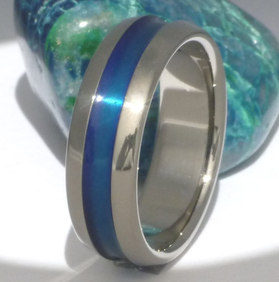 Thin Blue Line Titanium Wedding Band b14 by TitaniumRingsStudio