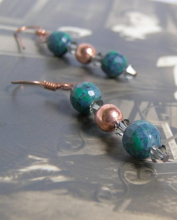 Azurite Black Diamond Copper Earrings