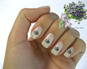 Shabby Very Chic Lavender Vintage Floral Bouquet Nail Art Waterslide Miniature Water Decals - fw-040