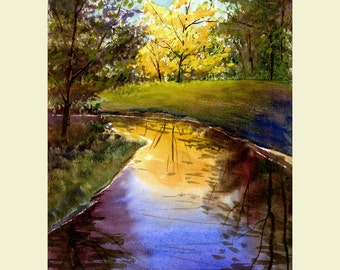 Watercolor Landscape Painting  Print River Fall trees Reflections colors 7x10 Giclee