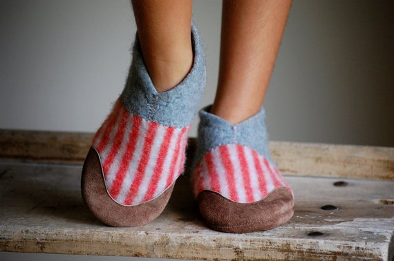 Kids Shoes, Wool with Leather Soles by Wooly Baby, Eco Friendly, size 7.5, Run Free