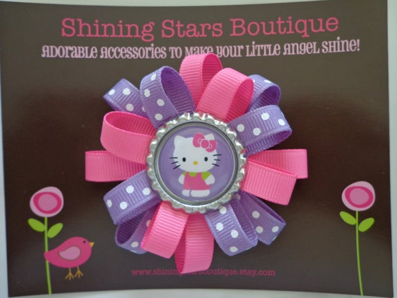 Hair Bows - Baby Girl Hair Accessories - Mini Hot Pink And Dark Lavender Kitty Cat Flower Loop Boutique Loopy Hairbow