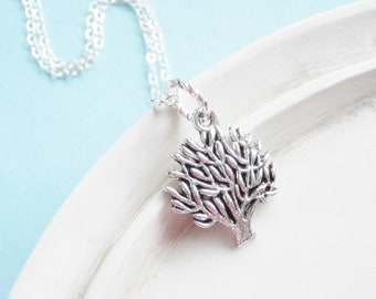 Silver Tree Necklace - Silver Jewelry Charm Necklace