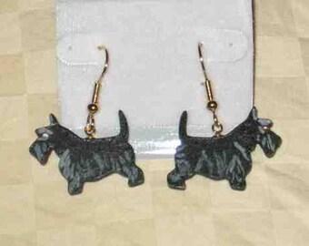 Handpainted Lightweight Wood SCOTTISH TERRIER Dog Breed Dangle Earrings