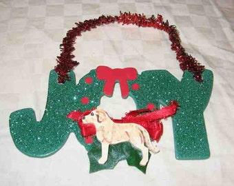 Christmas Ornament Joy Word Tree Gingerbread Boy