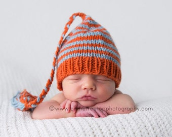 Newborn Hat, Baby Hat,  Orange and Blue with Braid and Tassel,Newborn Hat, Baby Hat, Elf Hat Custom Striped Professional Photography Prop