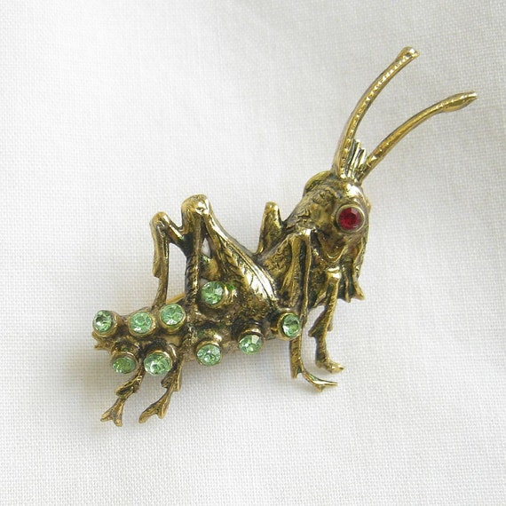 RESERVED for readme2658 - Vintage 1940s 10k Gold Plate Grasshopper Brooch with Peridot Green and Red Rhinestones
