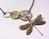 Mixed Metal Dragonfly Necklace - Steampunk Jewelry, Silver, Brass, Gears