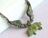 Flying Pig Necklace - Verdigris Patina Brass