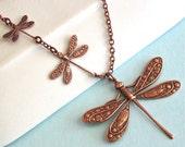 Kupfer Libelle Halskette - Libelle Schmuck