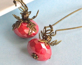Coral Earrings -  Czech Glass Earrings, Brass