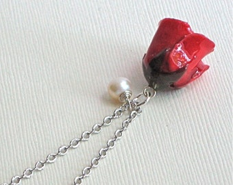 Real Red Rose Bud Necklace - Natural Preserved,  Flower Jewelry, Pearl, Sterling Silver