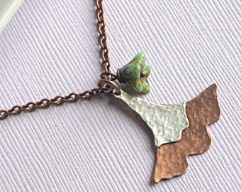 Copper Ginkgo Leaf Necklace -  Mixed Metal Jewelry