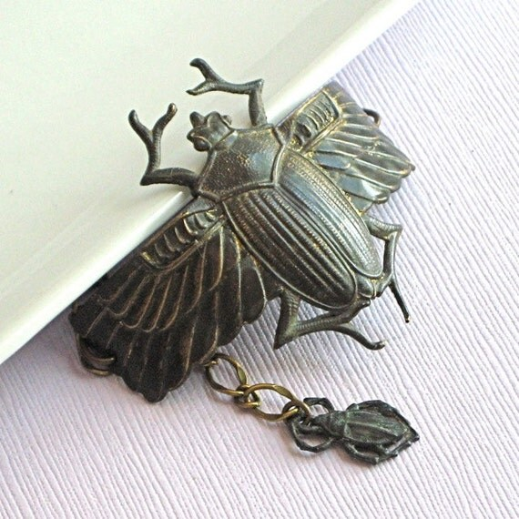 Dark Scarab Cuff Bracelet -  Brass Cuff, Beetle, Egyptian Scarab, Scarab Jewelry