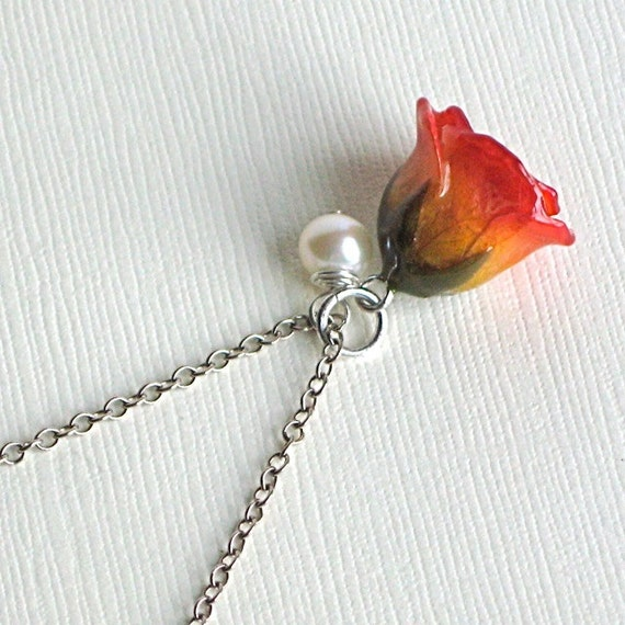 Real Flower Jewelry - Rosebud Necklace, Yellow with Red, Natural Preserved, Pearl, Sterling Silver