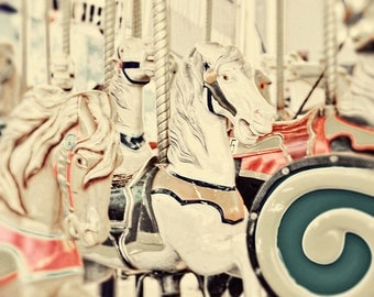 BUY 2 GET 1 FREE Horse Photography, Carnival, Children, fpoe, Kids Room, White, Elegant, Green, Pink, Lovely, Carousal - White Horses