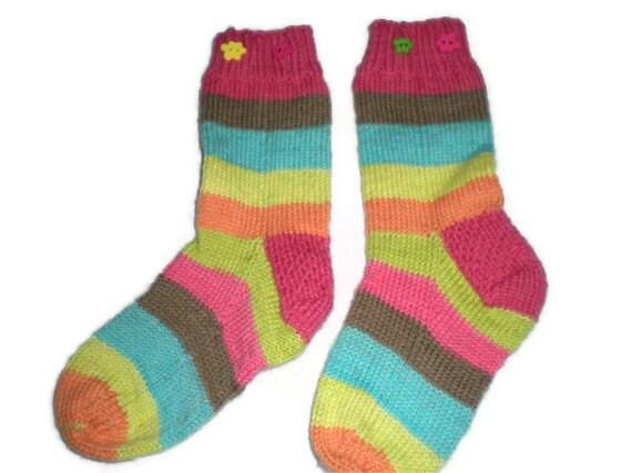 Toddler Socks - Hand Knit Striped Socks for Toddler Girl