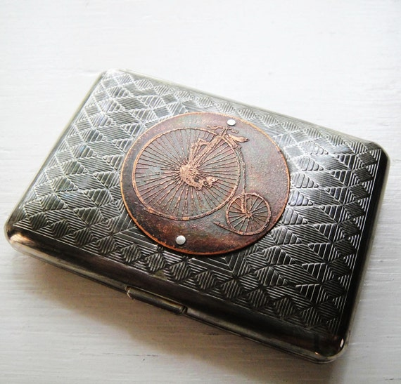 Penny Farthing Bicycle Etched Wallet / Cigarette Case in Tribal Steampunk - Acid Bath Series