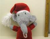 Hand Knitted Elephant with Santa Hat