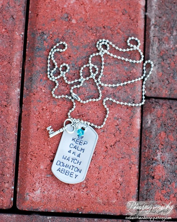 Silver Downton Abbey Dog Tag Necklace with Key