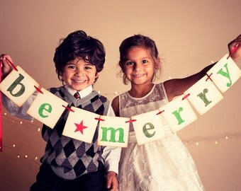 christmas garland Be Merry photoprop banner