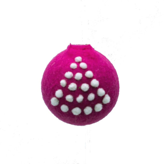 Needle Felted Ornament  Hot Pink Decoration