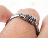 Sterling Silver Oxidized Rustic Ring. Fun Kinetic Ring -Sisters-