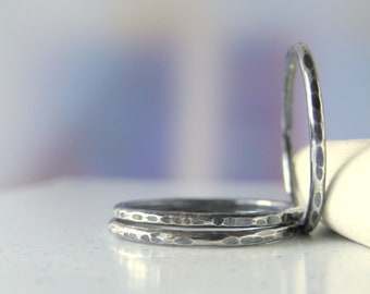 Sterling Silver Ring. Hammered. Oxidized. Stack-able. 16 gauge. -One-