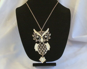 Huge Owl Pendant Necklace 1970s Vintage Segmented Bold Kitschy Retro Gold Finish