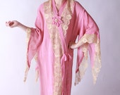Vintage 1920s Dress - Pink Orientalism Lounging Dress with Lace