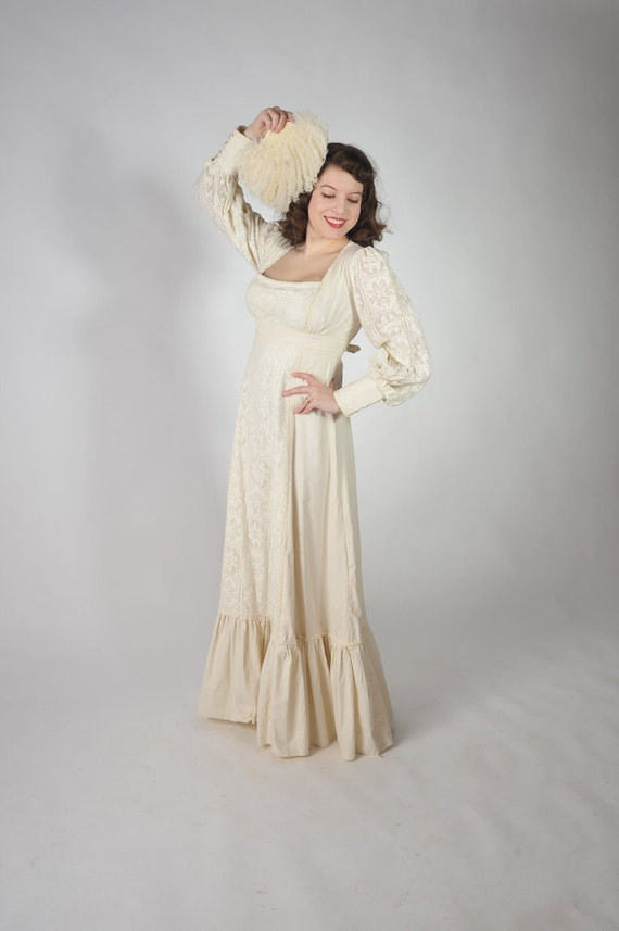 Vintage 1970s Wedding Dress - Gunne Sax Romantic Bohomian Wedding Dress